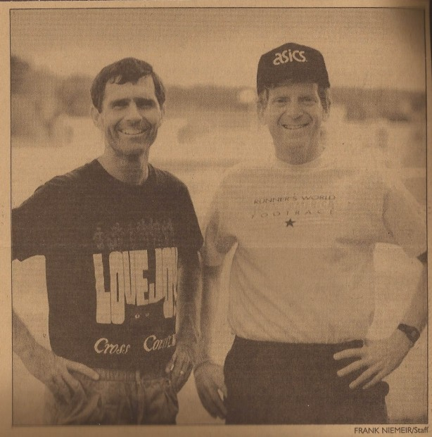 LOVEJOY HIGH SCHOOL cross country coach Richard Westbrook )left) was fourth overall behind David Warady in an ultramarathon across the country.
