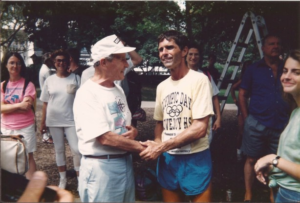 Richard Westbrook shaking hands with Harry Abrams, the lone survivor from the 1929 TransAm race