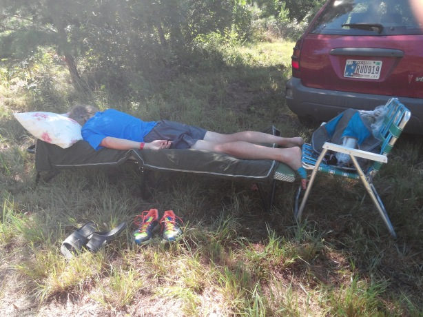 Brad Compton in recline after finishing The Last Annual Vol-State Road Race 500K in 7th place for screwed runners in 5days, 22 hours, 56 minutes, and 44 seconds