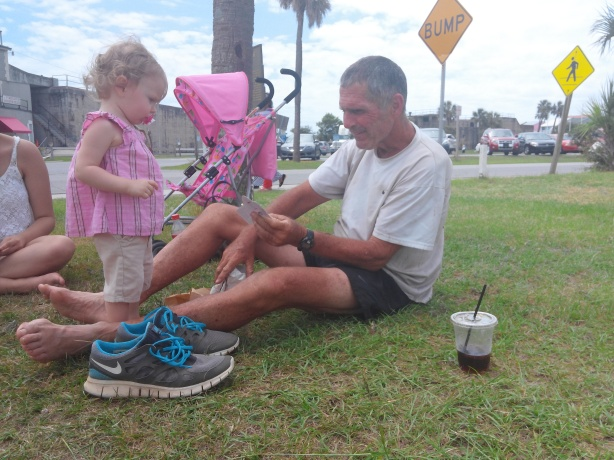 Richard Westbrook enjoying his finisher's award at the Tybee Island lighthouse...of the Peach State 300