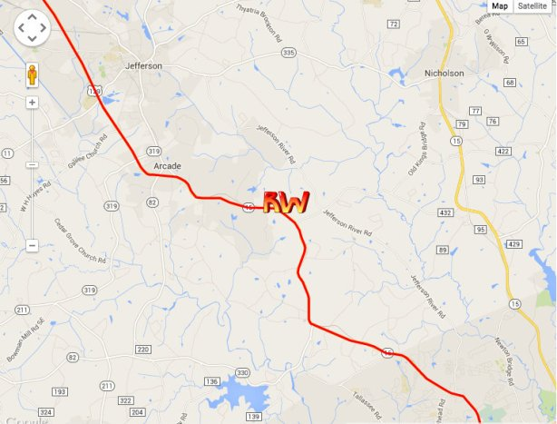 Richard Westbrook's location at end of day 1 for Peach State 300 - between Arcade and Attica, just before Athens, Ga.