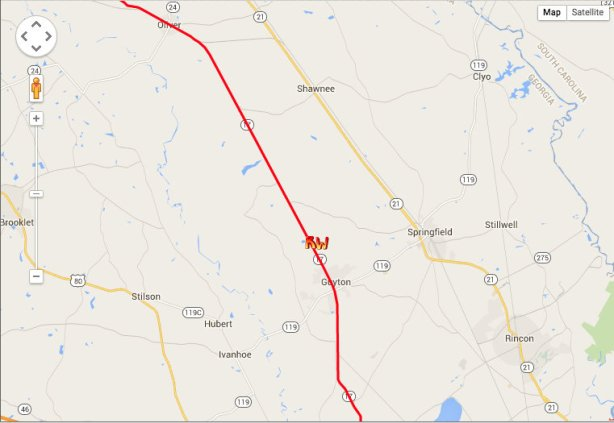Richard Westbrook's location at end of day 5, just before Guyton, Ga.