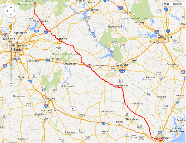 Route from Dahlonega to Savannah