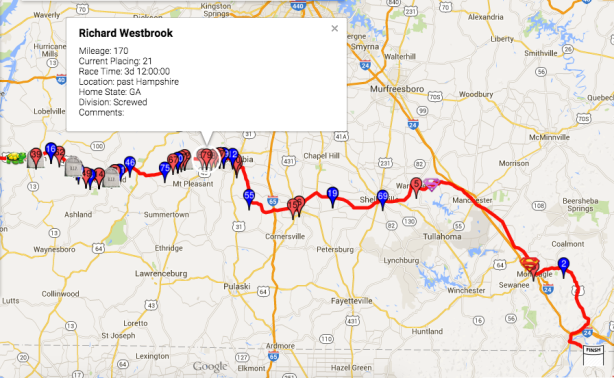 Vol State day 4, 12 hour check-in, Westbrook's location