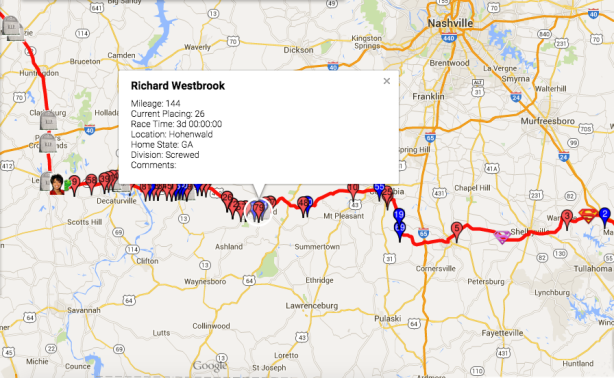 Vol State day 3, 24 hour check-in, Westbrook's location
