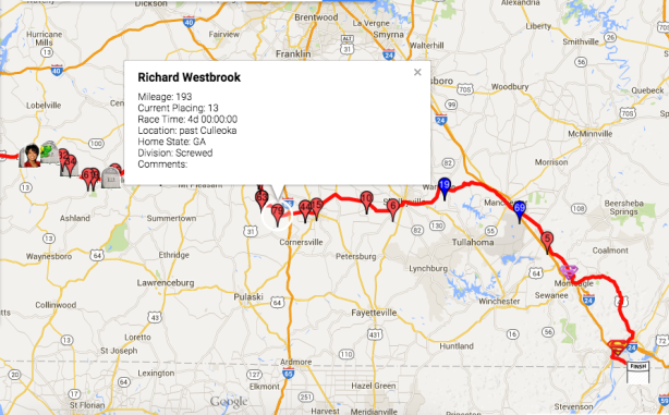 Vol State day 4, 24 hour check-in, Westbrook's location
