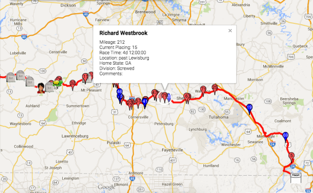 Vol State day 5, 12 hour check-in, Westbrook's location