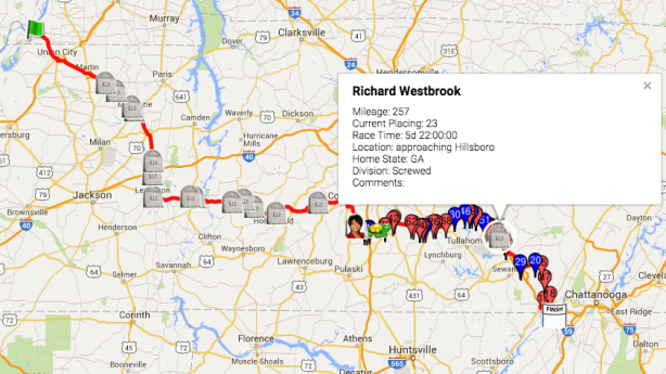 Vol State final location for Westbrook