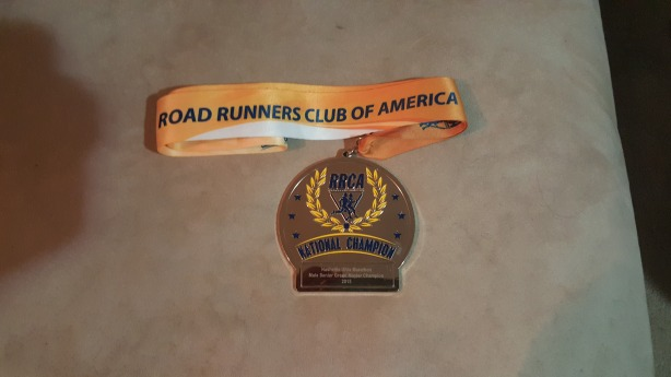 Westbrook's first place medal, National Champion, for the Nashville Ultra 50 Miler